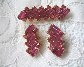 Vintage Rhinestone Brooch & Earring Set ~ Pink Rhinestones ~ Clip On