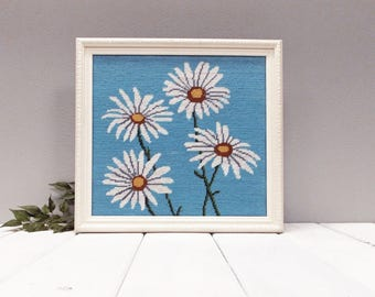 Vintage Framed Needlepoint Flowers--- Embroidered Needlepoint Dasies --- 1970's Cottage Chic Wall Decor