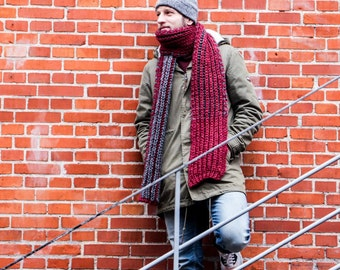 Red and Grey Chunky HandKnit Scarf for men, ready to ship
