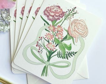 Floral Wedding Thank You - Pink Bouquet - Housewarming Gift - Mother's Day Card - Thinking of you - I'm Sorry Card