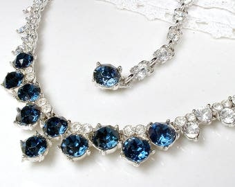 1940's BOGOFF Sapphire Rhinestone Necklace, Silver Navy Blue Bridal Necklace, Something Old Paste Crystal Statement Vintage Modern Wedding