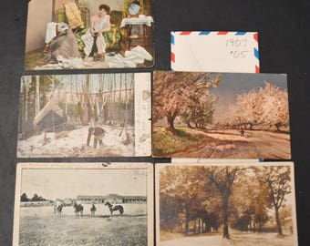 Vintage postcards, FREE SHIPPING 12 cards, 1907, photo cards, colored photos, beach, landscape card-making, scrap-booking, paper crafts 003