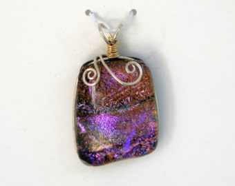 Purple Rose Glass Pendant with Dichoic Accents and Sterling Silver Wire Wrap - Cyberlily