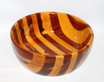 Vintage Multi-colored Striped Wooden Fruit Bowl - Segmented Wood - Hand Made in Maine  (307-3)