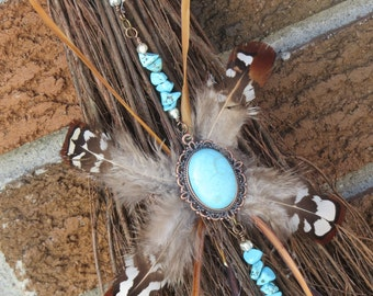 Natural Besom Broom in Brown and Turquois, Witch's Broom, Altar Besom, Natural Broom, Witch's Altar, Protection, Witchcraft,  Triple Moon