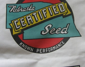 Vintage Nebraska Certified Seed Sacks Unused  Farmhouse Feed Grain Sack Pillows Red Green Yellow
