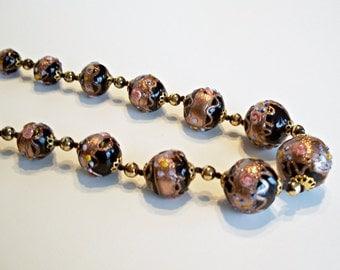 Wedding Cake Necklace Black Aventurine Glass Beads Italy Murano Venetian Vintage