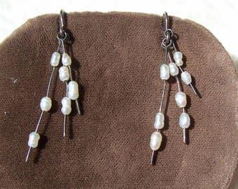Rice Pearl Sterling Silver Earrings Pearl Dangle Wires Artisan Vintage