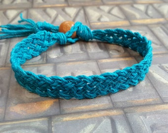 Hemp Bracelet Natural Woven Friendship Surfer Turquoise Blue