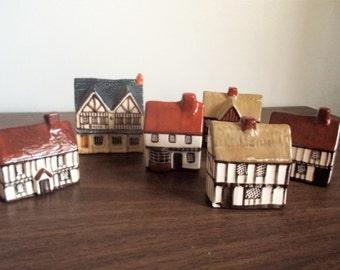 Set of Six Mudlen End English Tudor Ceramic Cottages
