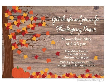 Thanksgiving Day Invitation Barn wood fall rustic design