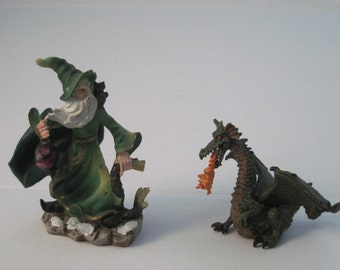 Wizard/Sorcerer, and Dragon Figurine