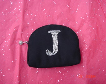 Vintage Small Black Purse with Beaded J - Cute