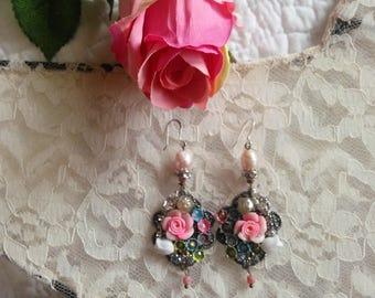 Marie Antoinette vintage flower chandelier dangle earrings