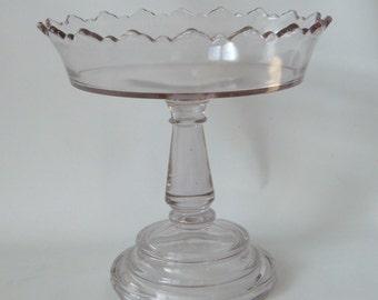 Antique EAPG Glass Comport Tall Pedestal Bowl Fancy Edge Oxidizing Pale Lavender 9  x 8