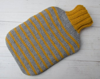 Knitted hot water bottle cover gray and yellow stripes wool and alpaca