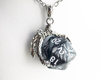 Dungeons and Dragons Inspired D20 Dice Dragon Claw Pendant Necklace / Pick your Length / Polyhedral Gaming Nerd Lover Gift Dungeon Master