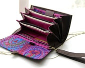 Envelope system wallet clutch, coupon organizer budget envelope cash wallet money accordion steel brown fuchsia paisley purple READY TO SHIP