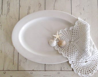 Ironstone Platter Farmhouse Platter Vintage White Ironstone Rustic Farmhouse Decor