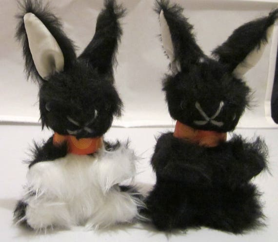 Baby Black Bunny Rabbit Stuffed Black and White Toy Cool Tots Toy Shower Basket Gift Toy for Mobile Toy for Boy Gift for Girl Toddler Gift