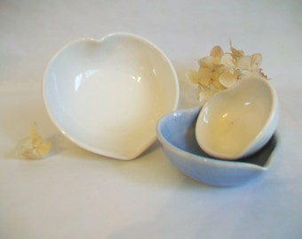 Nesting Heart Bowls - Set of 3, Handmade,  Baby Blue and White -- 4 inch Diameter - Mothers Day/ All Occasion Gift  - Ready to Ship