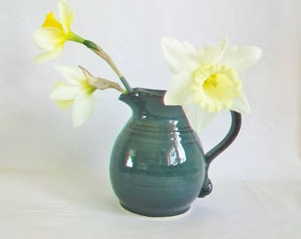 Teal - Blue/Green Stoneware Pitcher - Handmade on the Potters Wheel - Milk Pitcher, Syrup or Cream Pitcher -- Flower Vase - Ready to Ship