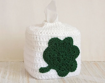 Shamrock Tissue Box Cover, Irish Decor, Crochet, Kleenex Tissue Holder, Storage, St Patrick's Day Decoration