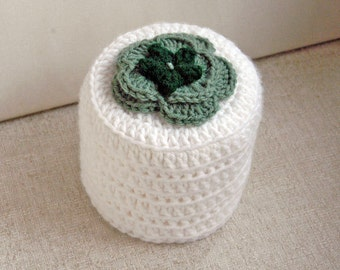Irish Rose Crochet Toilet Paper Cover, Flower Cozy, Storage, Bathroom Organization, Green and White, St Patrick's Day Decor