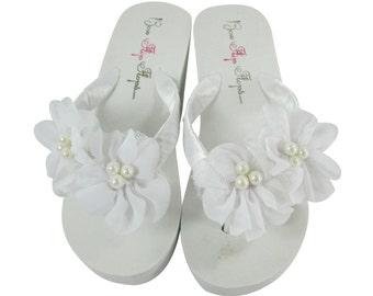 White Chiffon Pearl Flip Flops - Wedding Bridal Bridesmaid Flip Flops