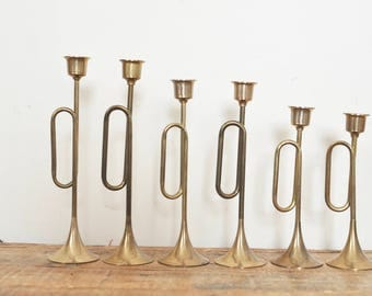 Vintage Brass Horn Candlestick Lot Set of Six Candle Holders Tarnished Brass Home Decor Display 6 Graduated Candleholders