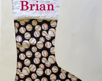 Your stocking with name embroidered - Baseball - Sports - Personalized stocking - Gifts for kids - holiday gift