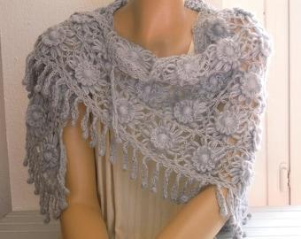 grey flower shawl, gray shawl, triangular