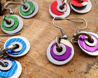 Pair of Washer Earrings - choose your colour - Purple, Green, Blue, or Red, Stainless Steel Washers, and Aluminium Drinks Cans, Recycled