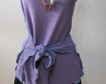 Light Purple or lalic color wide neck tank top with belt decoration plus made in USA (V171)