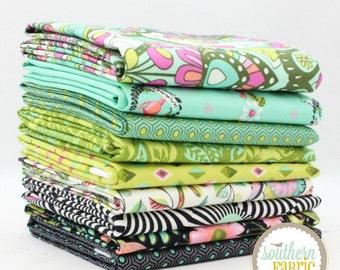 "Slow and Steady - Strawberry Kiwi -  Half Yard Bundle - 9 - 18""x44"" Cuts - Tula Pink - Free Spirit Quilt Fabric"