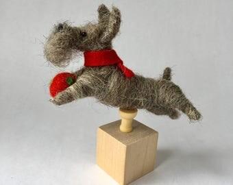 Mini Needle Felted Schnauzer Dog on a Cube