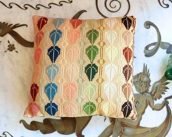 Vintage 60s 70s Needlepoint Rainbow Leaf Pillow Groovy MOD Cushion