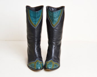 Vintage 80s Leather Patchwork BOOTS / 1980s Black Leather Green Patchwork Cap Toe Boots 8.5