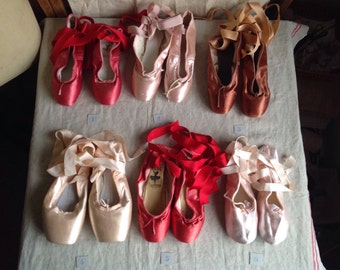 Vintage Ballet Shoes, Pink, Red & Copper Girl's Ballet Pointe Shoes. London Ballerina School Bloch, Freed / ONE pc