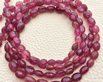 Full 14 Inch Strand,RARE Quality Natural Rubelite Pink TOURMALINE Smooth Oval,7-5mm Long