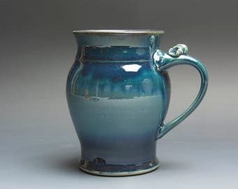 Sale - Pottery beer mug, ceramic mug, stoneware stein blue 24 oz 3817