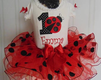 Ladybug Birthday Outfit- Summer Ladybug Outfit- Cute Embroidered and Personalized Onesie/T-Shirt/Tutu and Headband