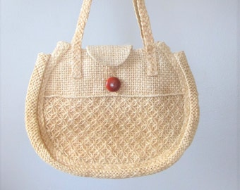 Vintage 1970's Straw Hippie Handbag Tote Beach Bag Purse / Large Style