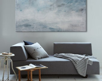 large abstract seascape painting blue sky horizontal painting nature 'tender is the light' contemporary art Elena.