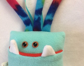Tooth Fairy Pillow | Aqua Blue and Tie Dyed Tooth Monster | Tooth Fairy Monster Pillow