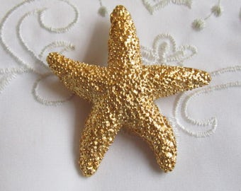 Vintage Gold Tone Textured Starfish Brooch