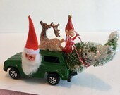 Toy Diecast Truck Upcycled with Vintage Spun Cotton Santa Elf and Bottle Brush Tree