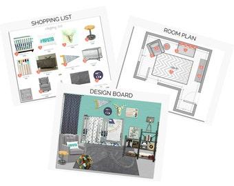 BABY NURSERY Interior Design Service, Custom E-Design, Virtual Interior Design, Design Board, Interior Designer, Floor Plan, Mood Board