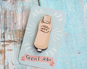 Great Job Thumbs Up Hand Painted Lasercut Wood Pin