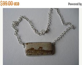 ON SALE Picture Stone Necklace in Sterling Silver